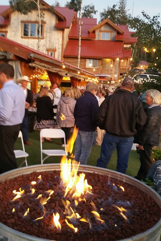 Picture of guests gathered behind a fire pit.