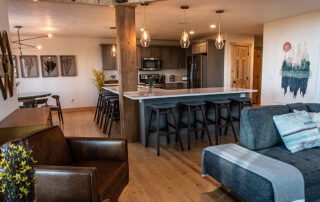 Kitchen and entertaining area in exquisite Little Hope Chalet.